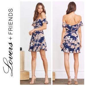 'Vineyard' Floral Print Off the Shoulder Minidress